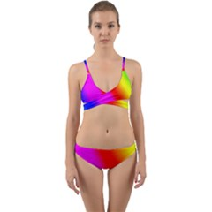 Multi Color Rainbow Background Wrap Around Bikini Set