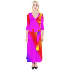 Multi Color Rainbow Background Quarter Sleeve Wrap Maxi Dress