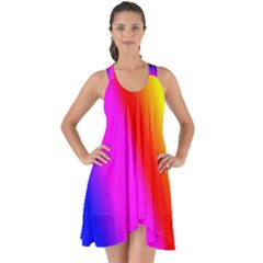 Multi Color Rainbow Background Show Some Back Chiffon Dress by Jojostore