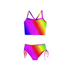 Multi Color Rainbow Background Girls  Tankini Swimsuit by Jojostore