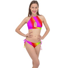 Multi Color Rainbow Background Cross Front Halter Bikini Set