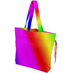 Multi Color Rainbow Background Drawstring Tote Bag