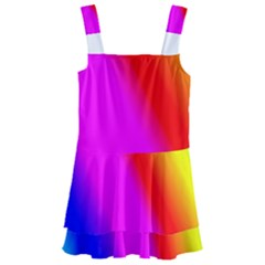 Multi Color Rainbow Background Kids  Layered Skirt Swimsuit by Jojostore
