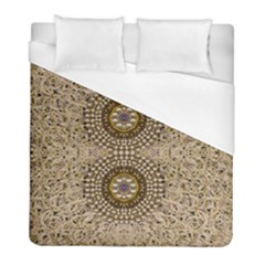 Moon Shine Over The Wood In The Night Of Glimmering Pearl Stars Duvet Cover (full/ Double Size) by pepitasart
