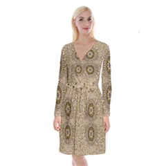 Moon Shine Over The Wood In The Night Of Glimmering Pearl Stars Long Sleeve Velvet Front Wrap Dress