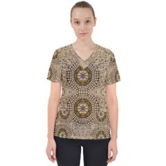 Moon Shine Over The Wood In The Night Of Glimmering Pearl Stars Women s V-neck Scrub Top by pepitasart