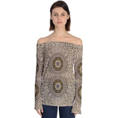 Moon Shine Over The Wood In The Night Of Glimmering Pearl Stars Off Shoulder Long Sleeve Top