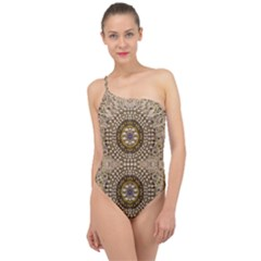 Moon Shine Over The Wood In The Night Of Glimmering Pearl Stars Classic One Shoulder Swimsuit by pepitasart