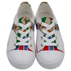 Patriote Flag With Le Vieux De  37 Kids  Low Top Canvas Sneakers