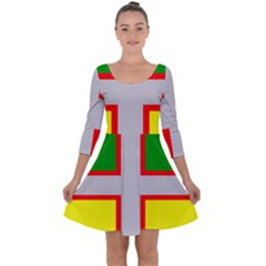 Flag Of Saguenay Lac Saint Jean Quarter Sleeve Skater Dress by abbeyz71