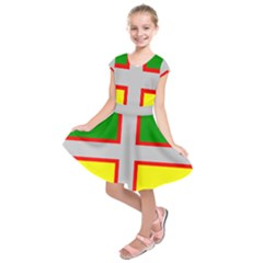 Flag Of Saguenay Lac Saint Jean Kids  Short Sleeve Dress