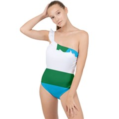 Flag Of Labrador Frilly One Shoulder Swimsuit