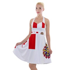 Flag Of Canadian Armed Forces Halter Party Swing Dress