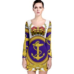 Badge Of Royal Canadian Navy Long Sleeve Velvet Bodycon Dress by abbeyz71