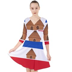 Flag Of Southern Nations, Nationalities, And Peoples  Region Of Ethiopia Quarter Sleeve Front Wrap Dress