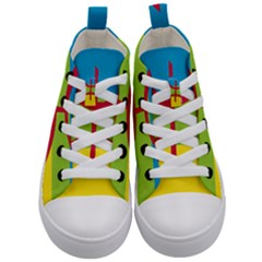 Berber Ethnic Flag Kid s Mid Top Canvas Sneakers