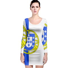 Proposed Flag Of Portugalicia Long Sleeve Bodycon Dress