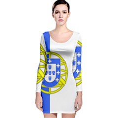 Proposed Flag Of Portugalicia Long Sleeve Velvet Bodycon Dress