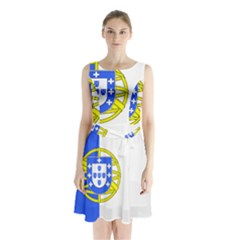 Proposed Flag Of Portugalicia Sleeveless Waist Tie Chiffon Dress