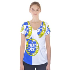 Proposed Flag Of Portugalicia Short Sleeve Front Detail Top