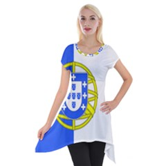 Proposed Flag Of Portugalicia Short Sleeve Side Drop Tunic
