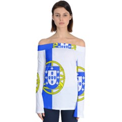 Proposed Flag Of Portugalicia Off Shoulder Long Sleeve Top