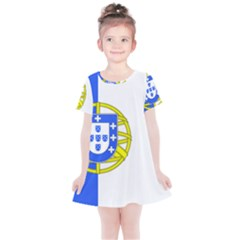 Proposed Flag Of Portugalicia Kids  Simple Cotton Dress