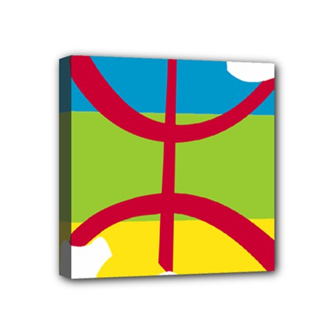 Kabylie Flag Map Mini Canvas 4  X 4  (stretched)