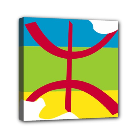 Kabylie Flag Map Mini Canvas 6  X 6  (stretched)