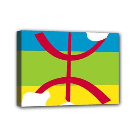 Kabylie Flag Map Mini Canvas 7  X 5  (stretched)