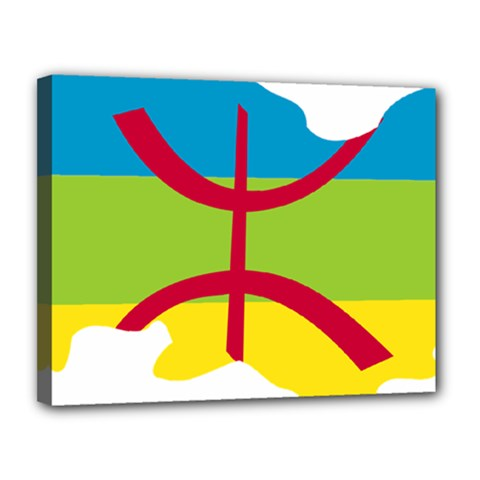 Kabylie Flag Map Canvas 14  X 11  (stretched)