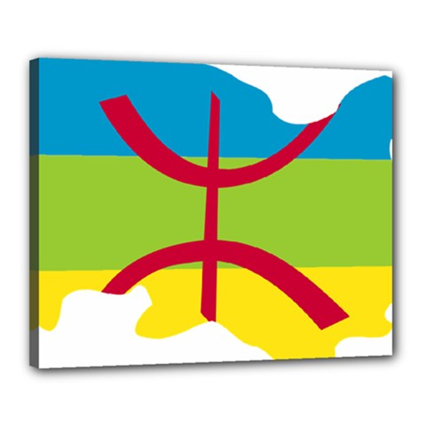 Kabylie Flag Map Canvas 20  X 16  (stretched)