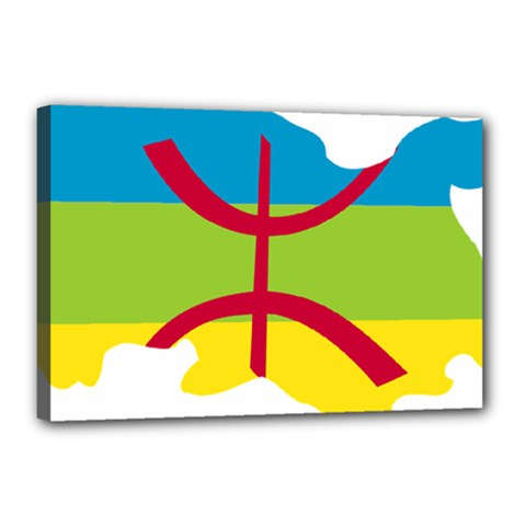 Kabylie Flag Map Canvas 18  X 12  (stretched)