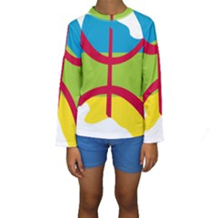 Kabylie Flag Map Kids  Long Sleeve Swimwear