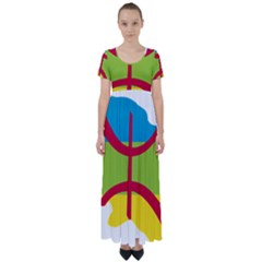 Kabylie Flag Map High Waist Short Sleeve Maxi Dress