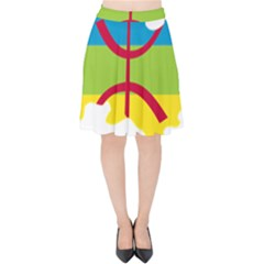 Kabylie Flag Map Velvet High Waist Skirt
