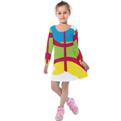 Kabylie Flag Map Kids  Long Sleeve Velvet Dress