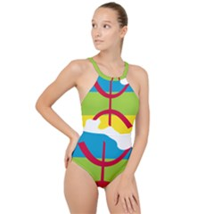 Kabylie Flag Map High Neck One Piece Swimsuit