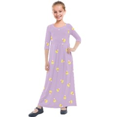 Candy Corn (purple) Kids  Quarter Sleeve Maxi Dress