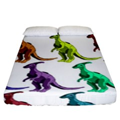 Multicolor Dinosaur Background Fitted Sheet (king Size)