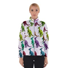 Multicolor Dinosaur Background Winter Jacket