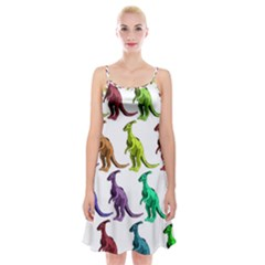 Multicolor Dinosaur Background Spaghetti Strap Velvet Dress