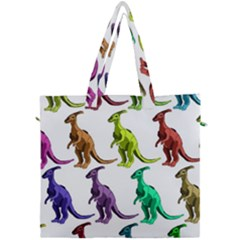 Multicolor Dinosaur Background Canvas Travel Bag