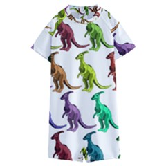Multicolor Dinosaur Background Kids  Boyleg Half Suit Swimwear
