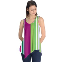 Beautiful Multi Colored Bright Stripes Pattern Wallpaper Background Sleeveless Tunic