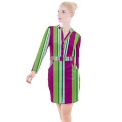 Beautiful Multi Colored Bright Stripes Pattern Wallpaper Background Button Long Sleeve Dress by Jojostore