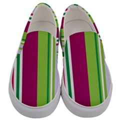 Beautiful Multi Colored Bright Stripes Pattern Wallpaper Background Men s Canvas Slip Ons