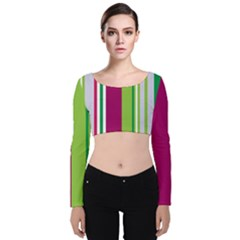 Beautiful Multi Colored Bright Stripes Pattern Wallpaper Background Velvet Long Sleeve Crop Top