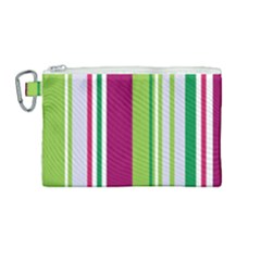 Beautiful Multi Colored Bright Stripes Pattern Wallpaper Background Canvas Cosmetic Bag (medium)