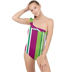 Beautiful Multi Colored Bright Stripes Pattern Wallpaper Background Frilly One Shoulder Swimsuit